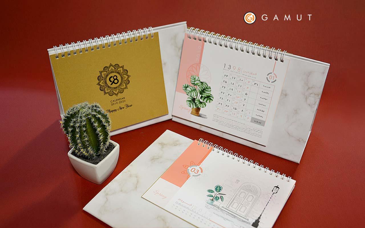 تقویم رومیزی خشتی گلدان مدل G901